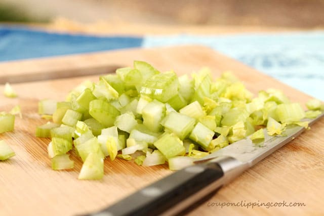 Chopped celery on cutting board