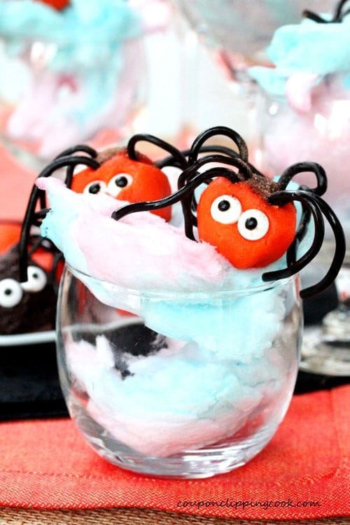 Creepy Crawler Chocolate Truffle Spiders on Cotton Candy
