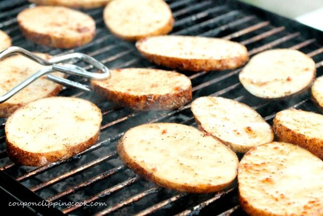 Grill Sliced Potatoes on Barbecue