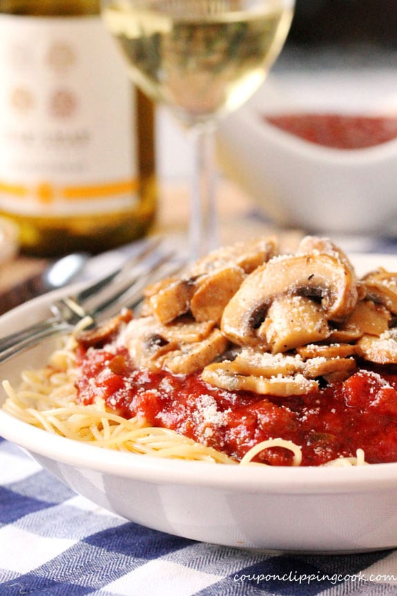 Pasta with Marinara and Sauteed Mushrooms with Wine in bowl