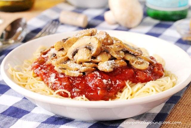 Pasta with Marinara and Sauteed Mushrooms in bowl