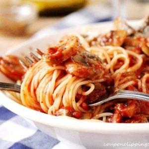 Spaghetti with Marinara and Mushrooms