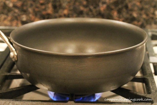 Pan on burner on stove top