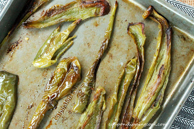 Roasted green chiles in sheet pan
