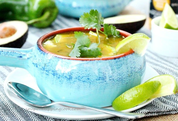 Green Chili and Chicken Tortilla Soup in bowl