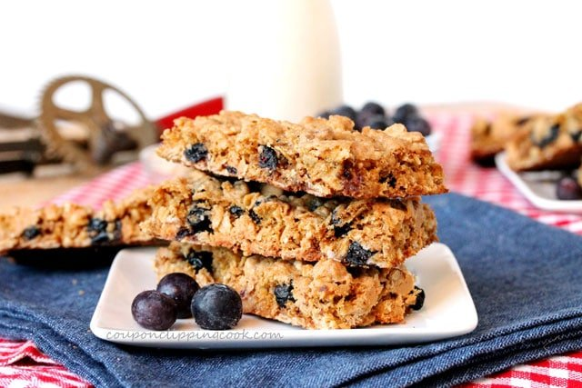 Oatmeal, Peanut Butter Chips and Blueberry Cookie Bars on plate