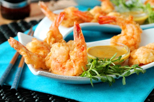 Tempura Shrimp with Easy Honey Mustard Dipping Sauce on plate