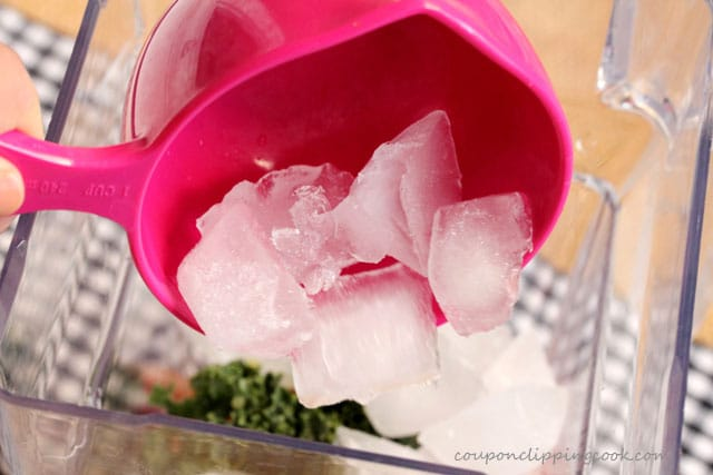 Add ice cubes to blender for smoothie