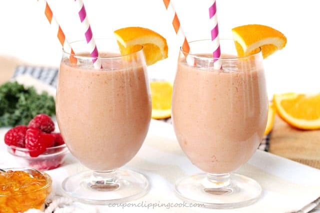 Orange Marmalade and Raspberry Smoothie in glasses