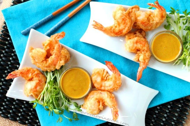 Tempura Shrimp with Easy Honey Mustard Dipping Sauce on plates