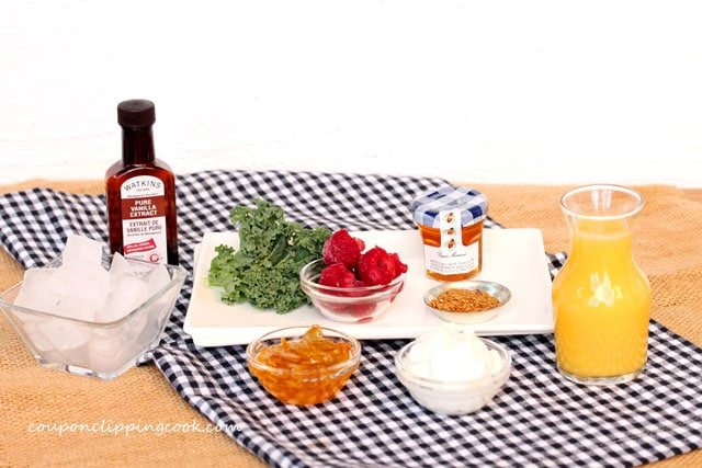 Orange Marmalade and Raspberry Smoothie ingredients