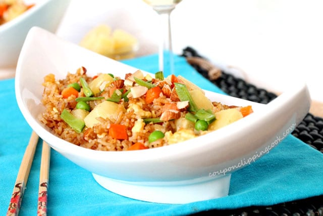 Fried Rice with Pineapple and Almonds in bowl