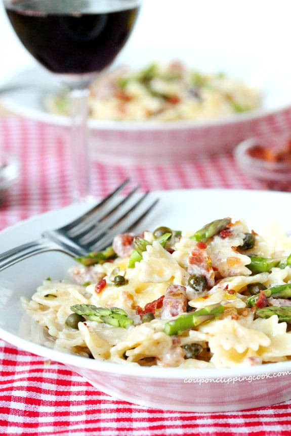Bow Tie Pasta with Bacon and Cream Sauce