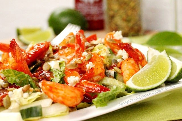 Spicy and Sweet Shrimp Salad with Crumbled Blue Cheese on plate