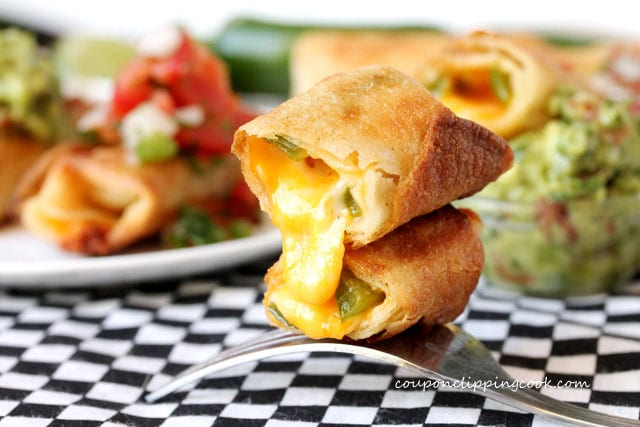 Cheese and Jalapeno Taquitos on fork