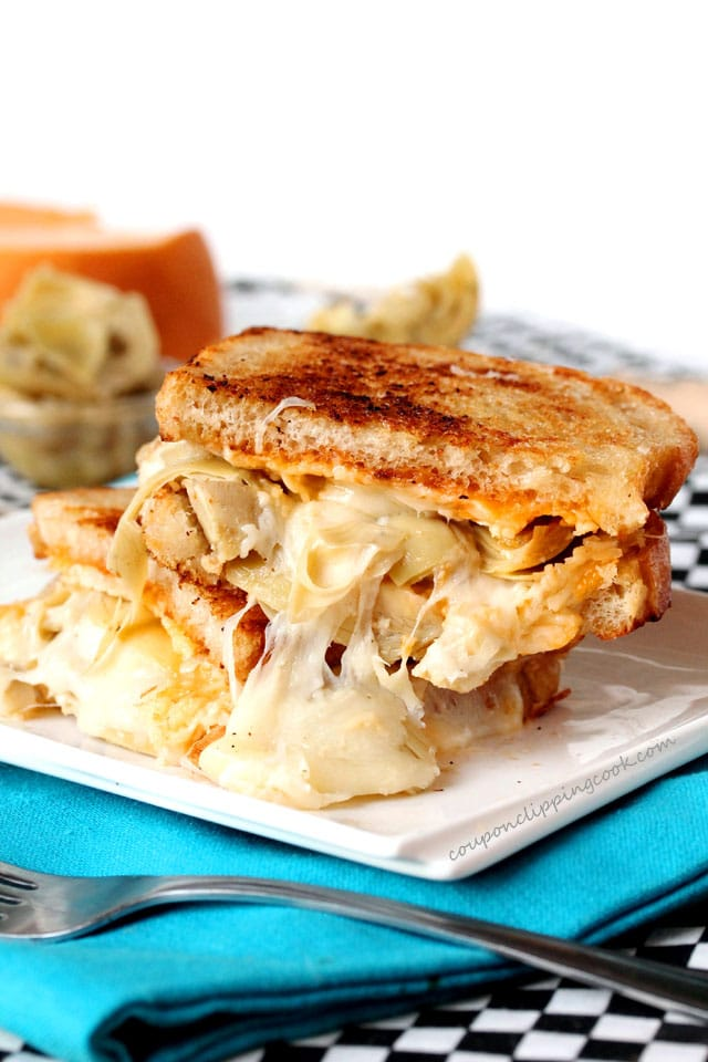 Artichoke Heart and Smoked Gouda Grilled Cheese Sandwich on plate