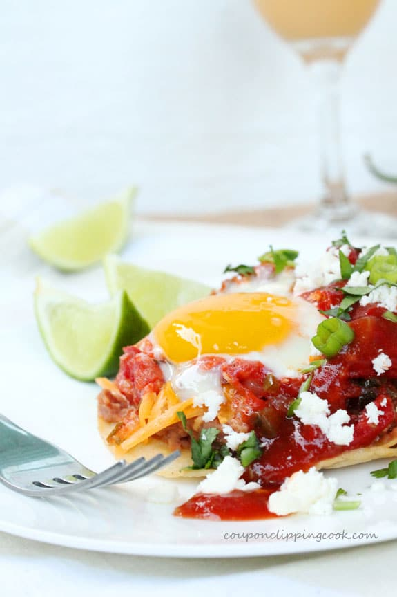 Huevos Rancheros Egg Tostadas on plate