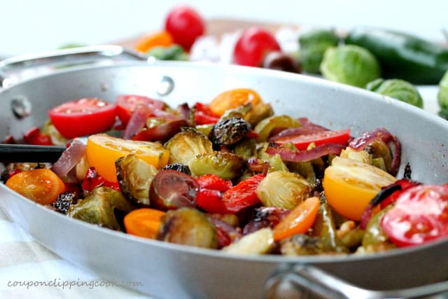 Fajita Brussels Sprouts with Tomatoes and Bell Peppers in Pan