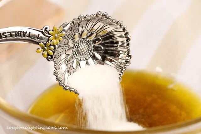 Add sugar to fajita sauce in bowl