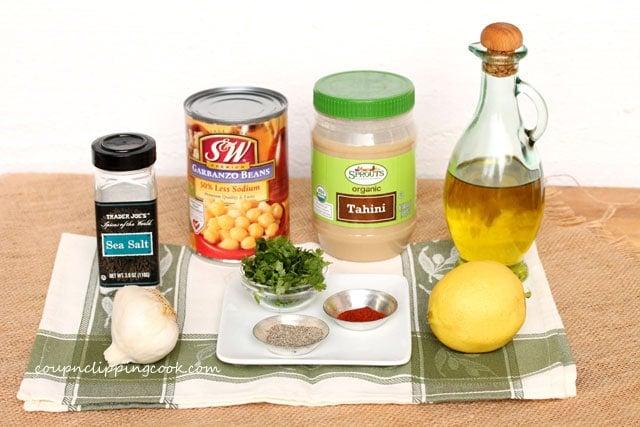 Cilantro Hummus ingredients