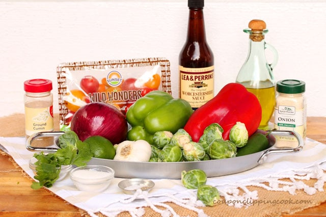 Fajita Brussels Sprouts with Tomatoes and Bell Peppers ingredients