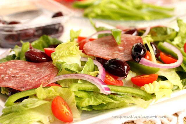 Salami on Antipasto salad on plate