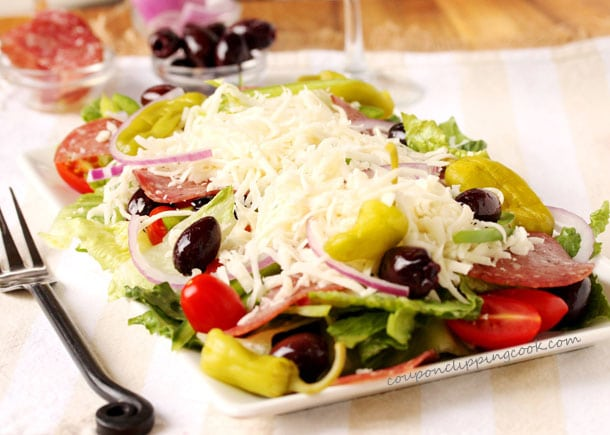 Antipasto Salad with Olives and Salami on plate