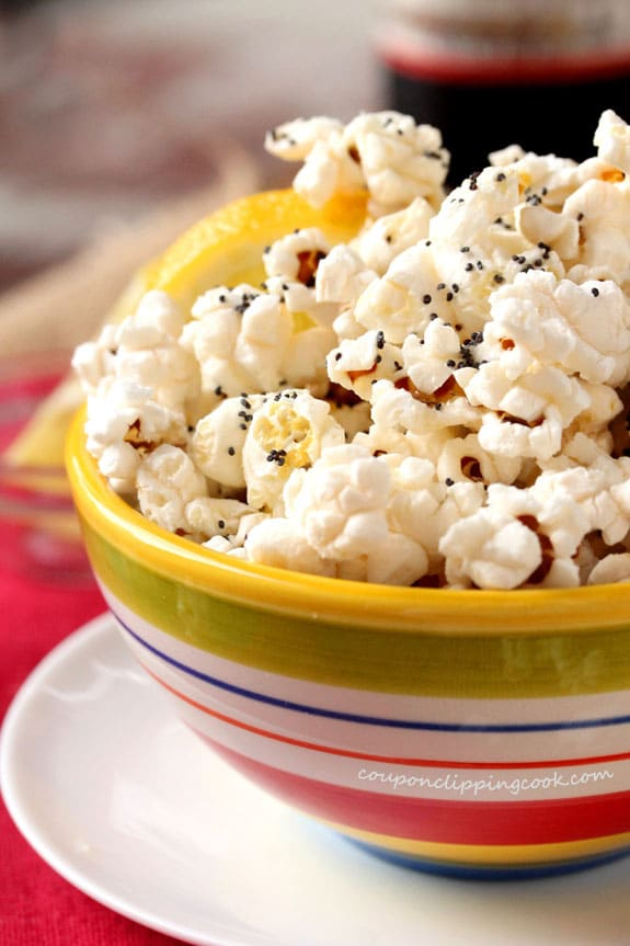 Lemon Butter and Poppy Seed Popcorn in bowl