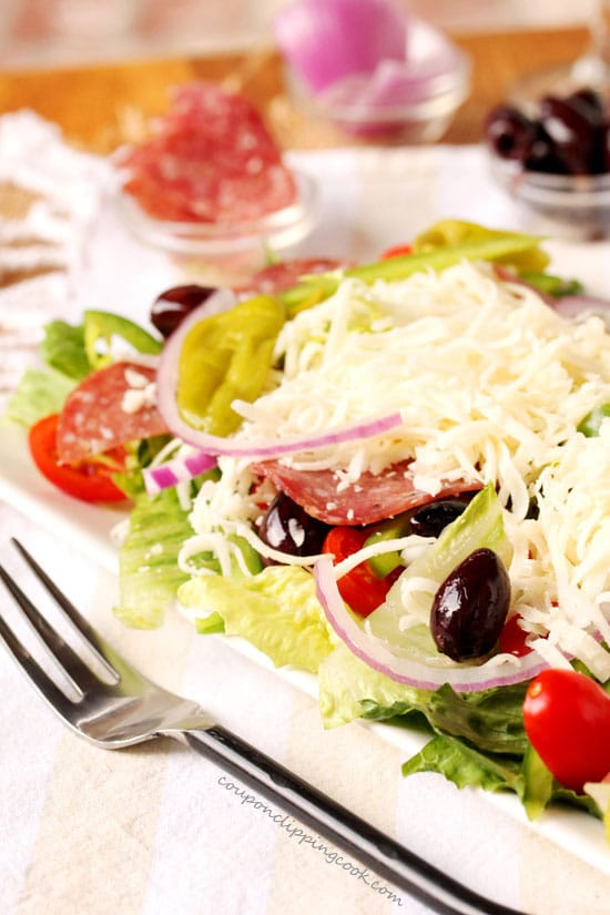Antipasto Salad with Salami and Cheese on plate