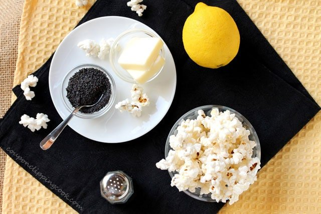 Lemon Butter and Poppy Seed Popcorn ingredients