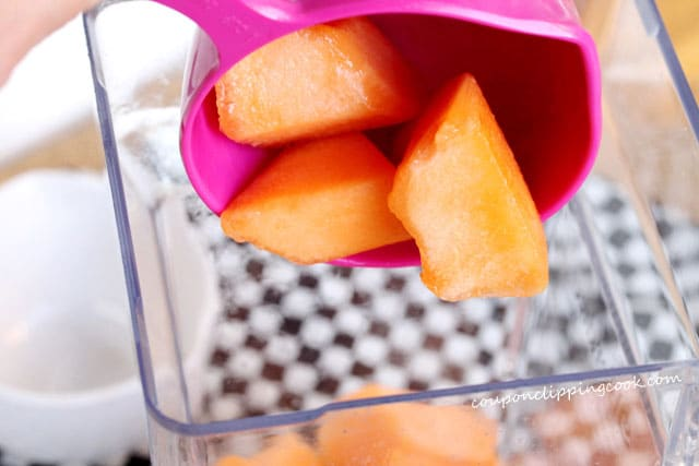 Add cantaloupe in blender for agua fresca