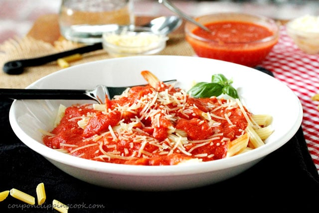 Penne Pasta with Vodka Tomato Cream Sauce in bowl