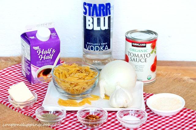 Pasta with Vodka Tomato Cream Sauce ingredients