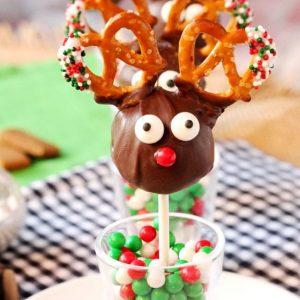 Reindeer Cookie Dough Truffle Pops