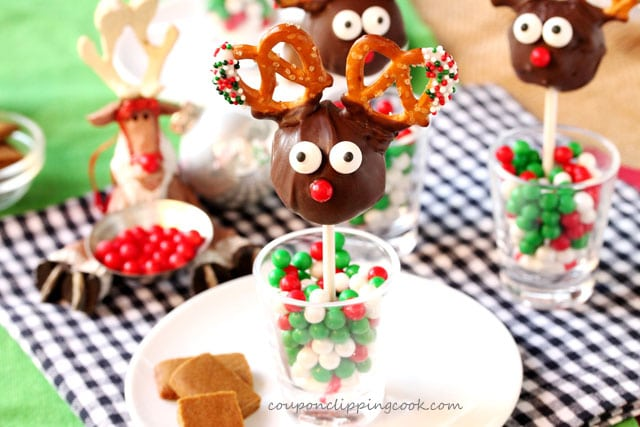 Reindeer Cookie Dough Pops on Sticks