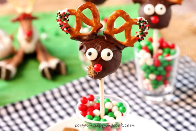 Bite out of Cookie Dough Reindeer Truffle Pops on a Stick
