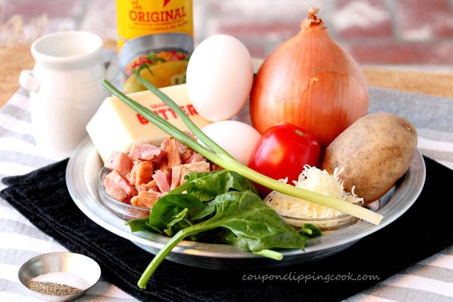 Fried Potato, Ham, Spinach, Egg and Cheese Breakast Pie ingredients