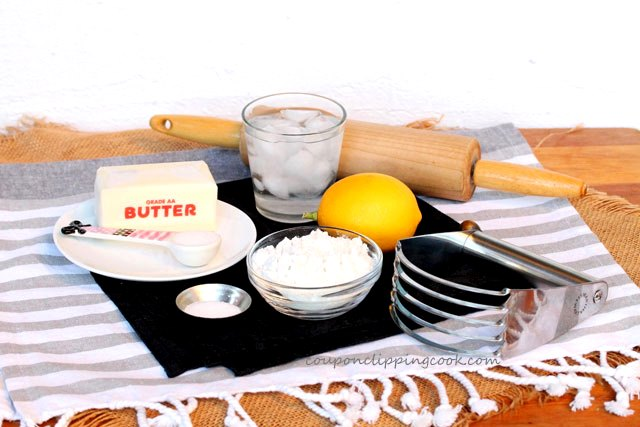 Pastry Crust ingredients with rolling pin