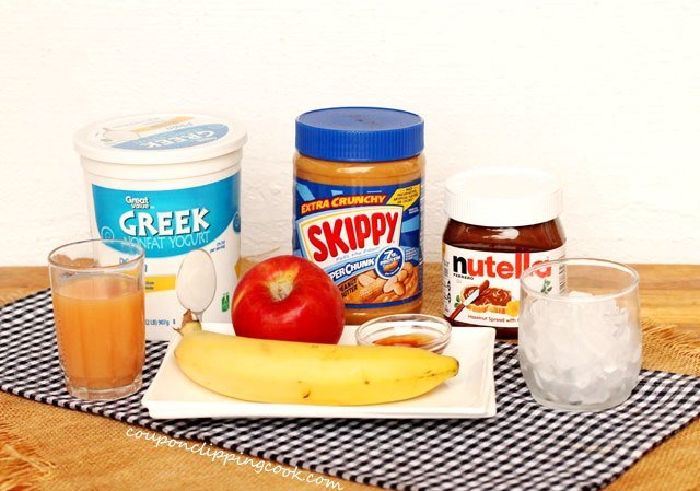 Peanut Butter, Banana and Nutella Smoothie ingredients