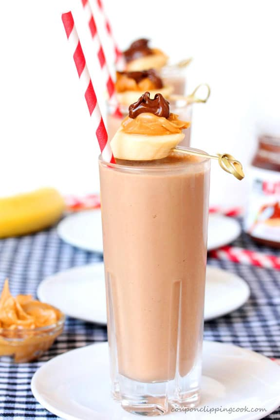 Peanut Butter, Banana and Nutella Smoothie in glasses