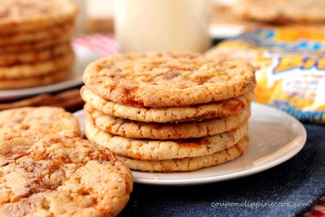 Butterfinger Snickerdoodle Cookies on plate
