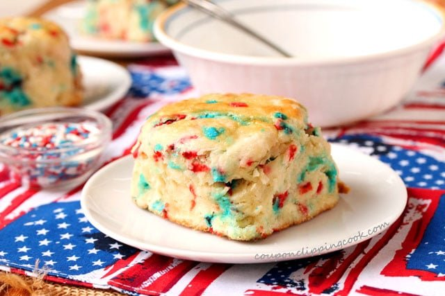 Funfetti Red White and Blue Biscuit on plate