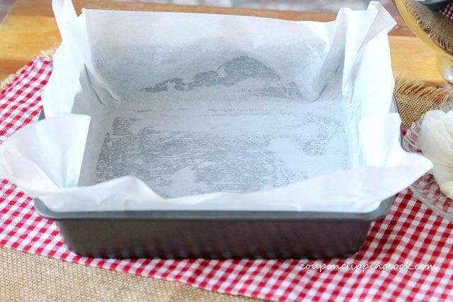 Parchment paper inside baking pan
