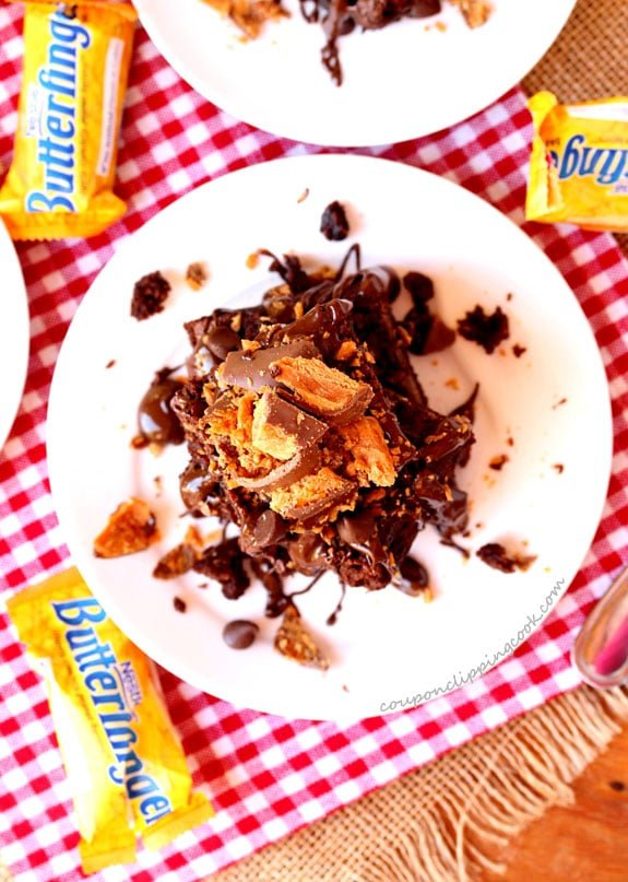 Butterfinger Chocolate Brownies on plate