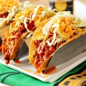 Slow Cooker Taco Meat in Taco Shells