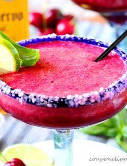 Cherry Berry and Basil Margaritas