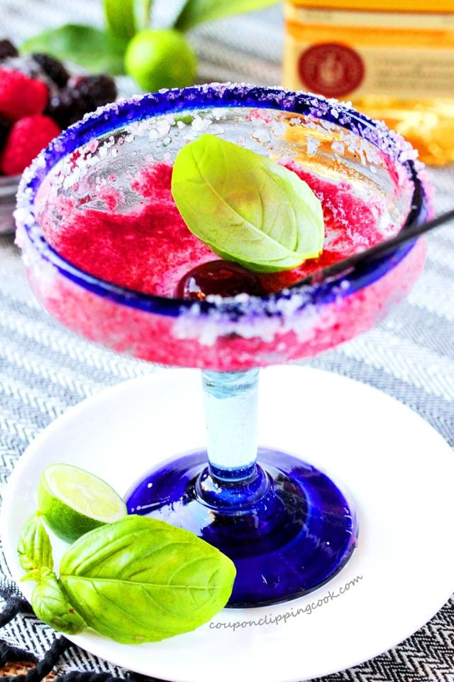 Cherry Berry and Basil Margaritas in glasses