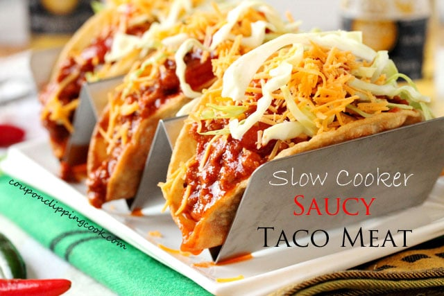 Slow Cooker Saucy Ground Meat Taco Filling in Tacos