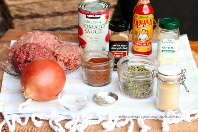Slow Cooker Saucy Ground Meat Taco Filling ingredients