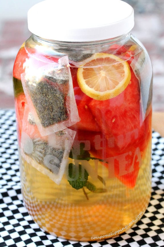 Watermelon Infused Lemon Mint Iced Green Tea in jar
